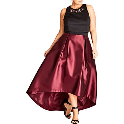 Plus Size City Chic Regal Me Charmeuse Ballgown, Burgundy