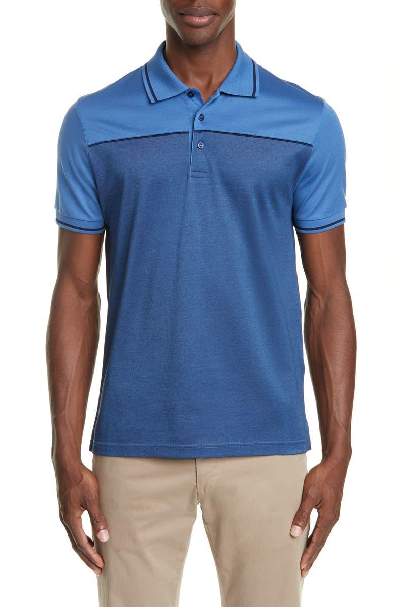 CANALI Colorblock Cotton Polo Shirt, Main, color, BLUE