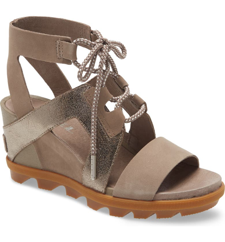 SOREL Joanie II Ghillie Lace Sandal, Main, color, ASH BROWN NUBUCK LEATHER