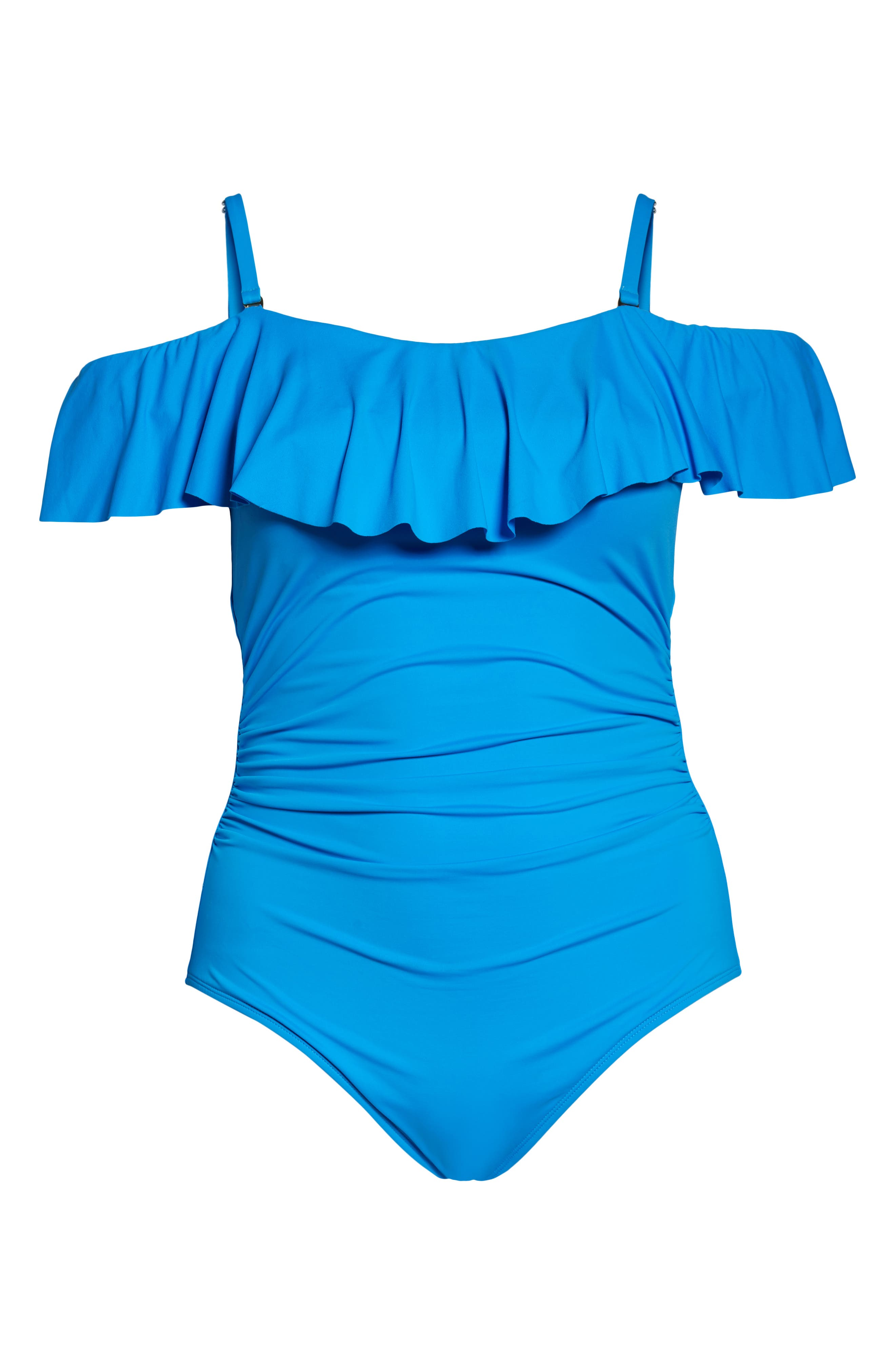 ,                             Off the Shoulder One-Piece Swimsuit,                             Alternate thumbnail 8, color,                             CHAMBRAY