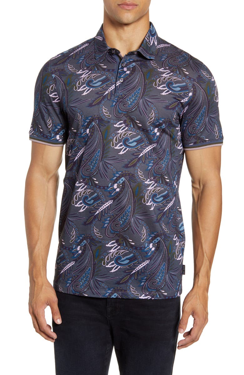 TED BAKER LONDON Print Short Sleeve Knit Polo, Main, color, DK BLUE