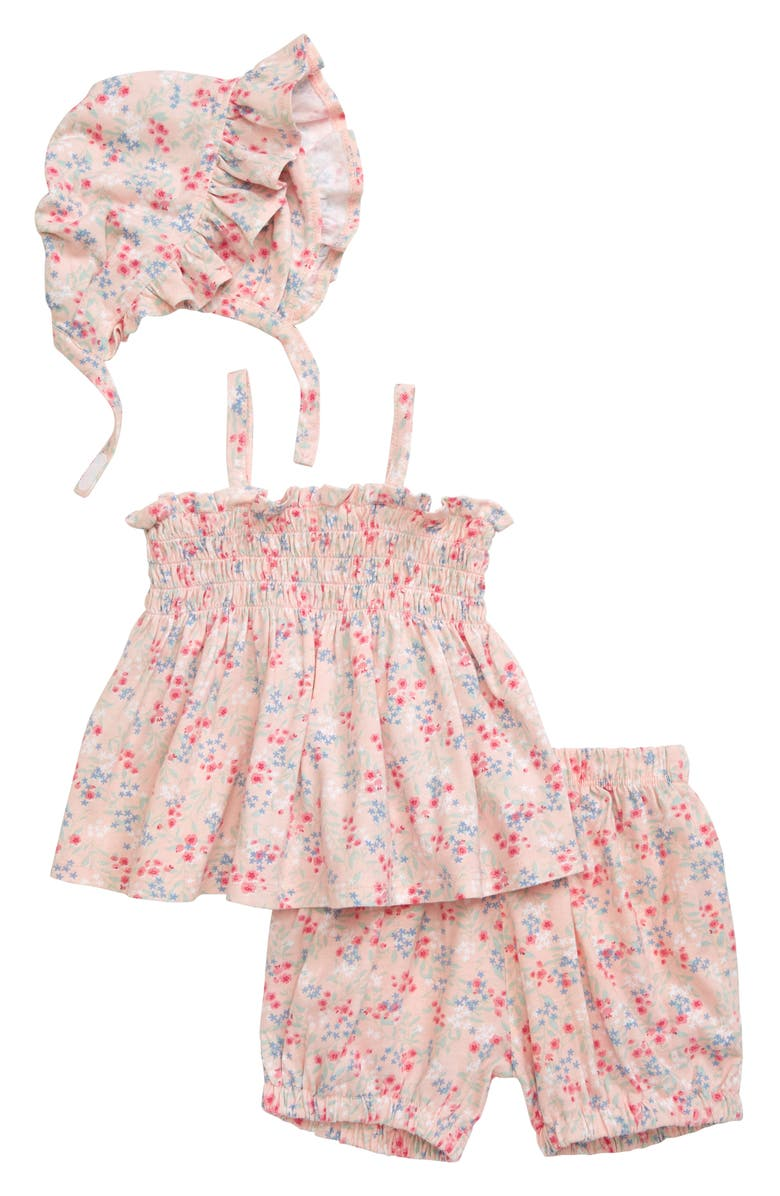NORDSTROM BABY Smocked Top, Bubble Shorts & Ruffle Bonnet Set, Main, color, PINK CLOUD MINI FLORAL