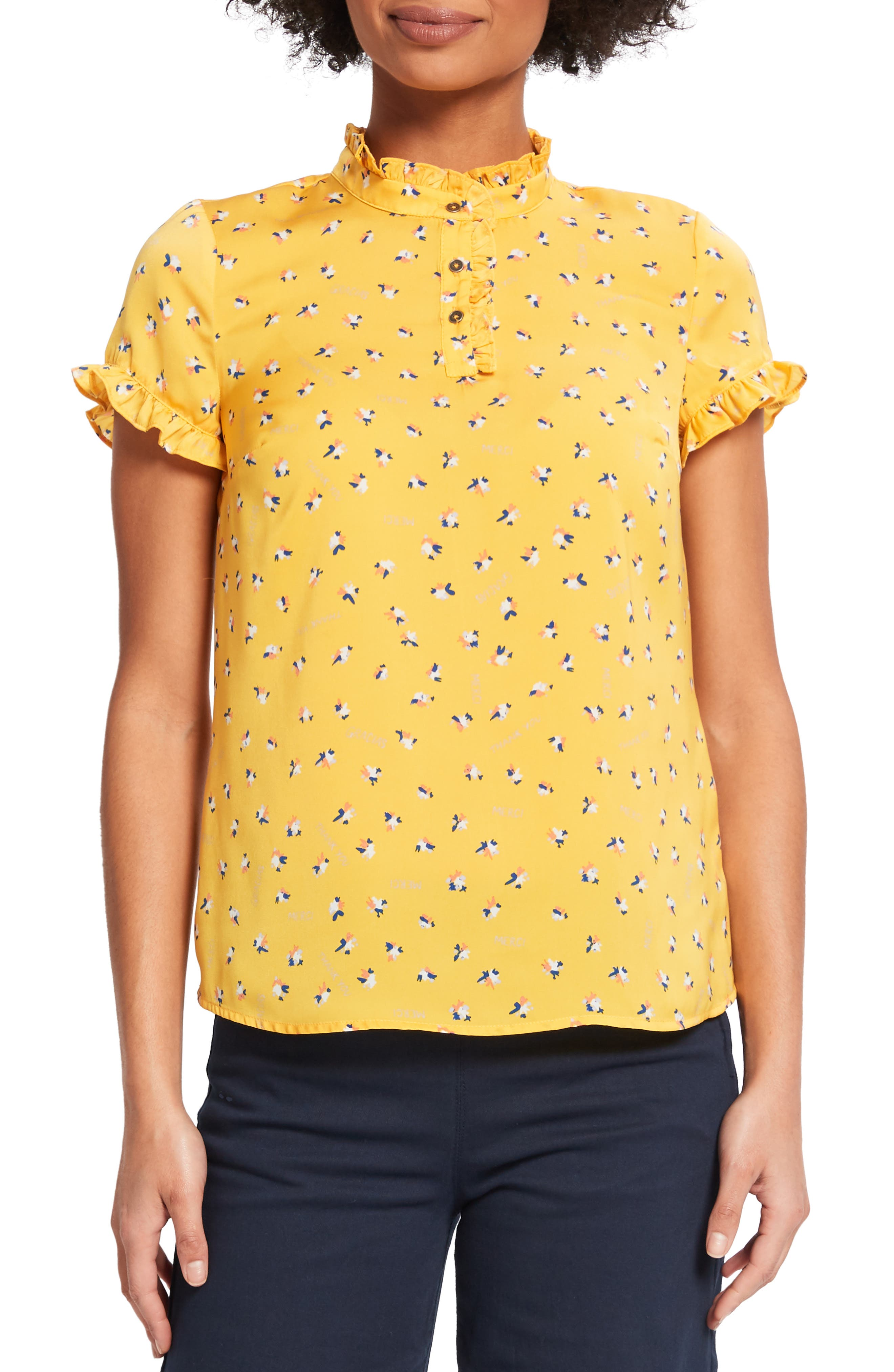 ,                             Form of Flattery Ruffle Top,                             Main thumbnail 1, color,                             YELLOW MULTI