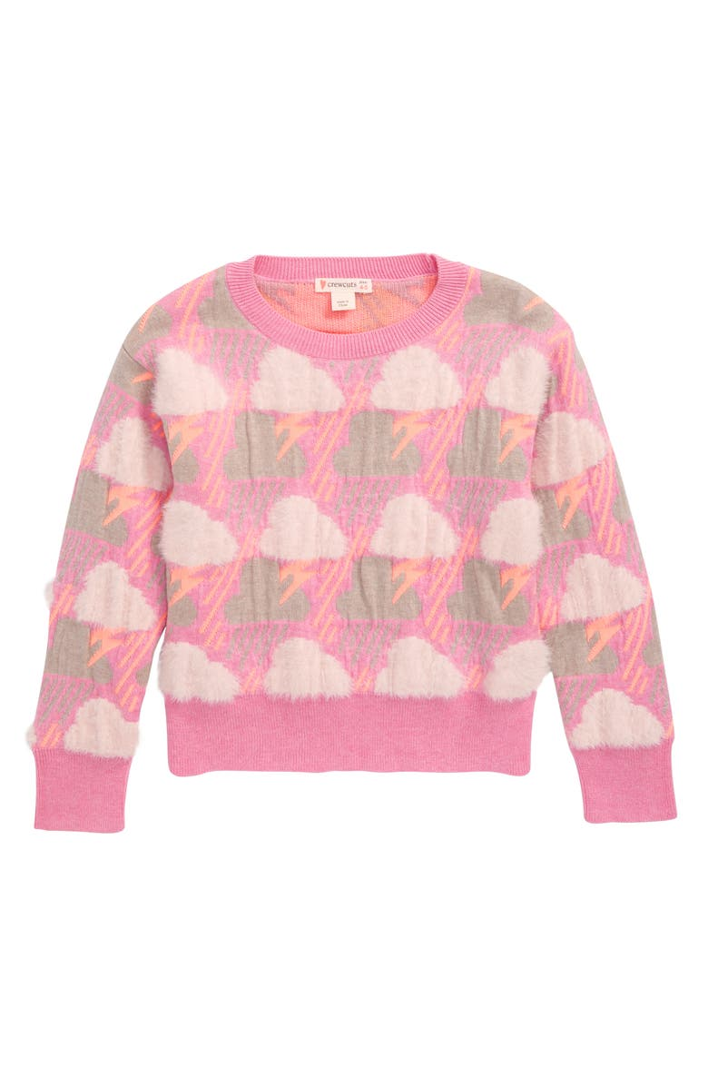 CREWCUTS BY J.CREW Alana Storms Sweater, Main, color, PEONY PINK MULTI_SU2952