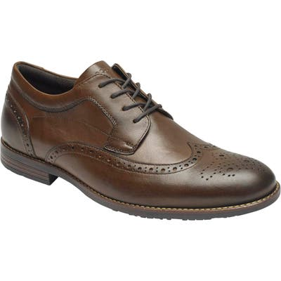 Rockport Dustyn Waterproof Wingtip, Brown