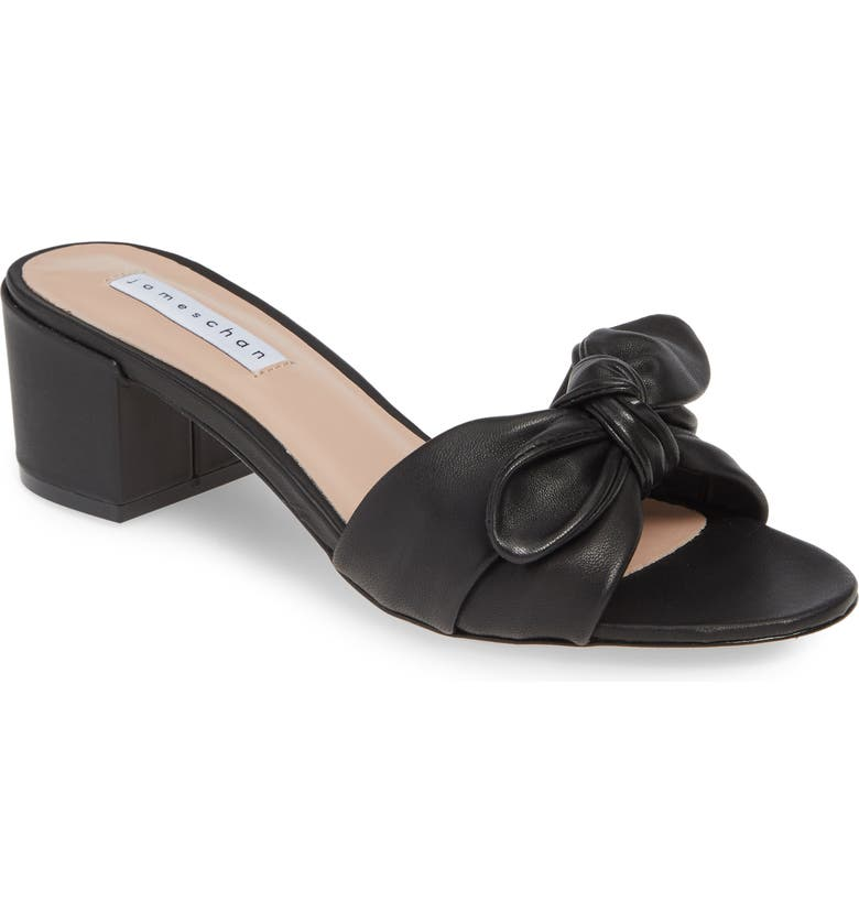 JAMES CHAN Suzy Bow Slide Sandal, Main, color, BLACK LEATHER
