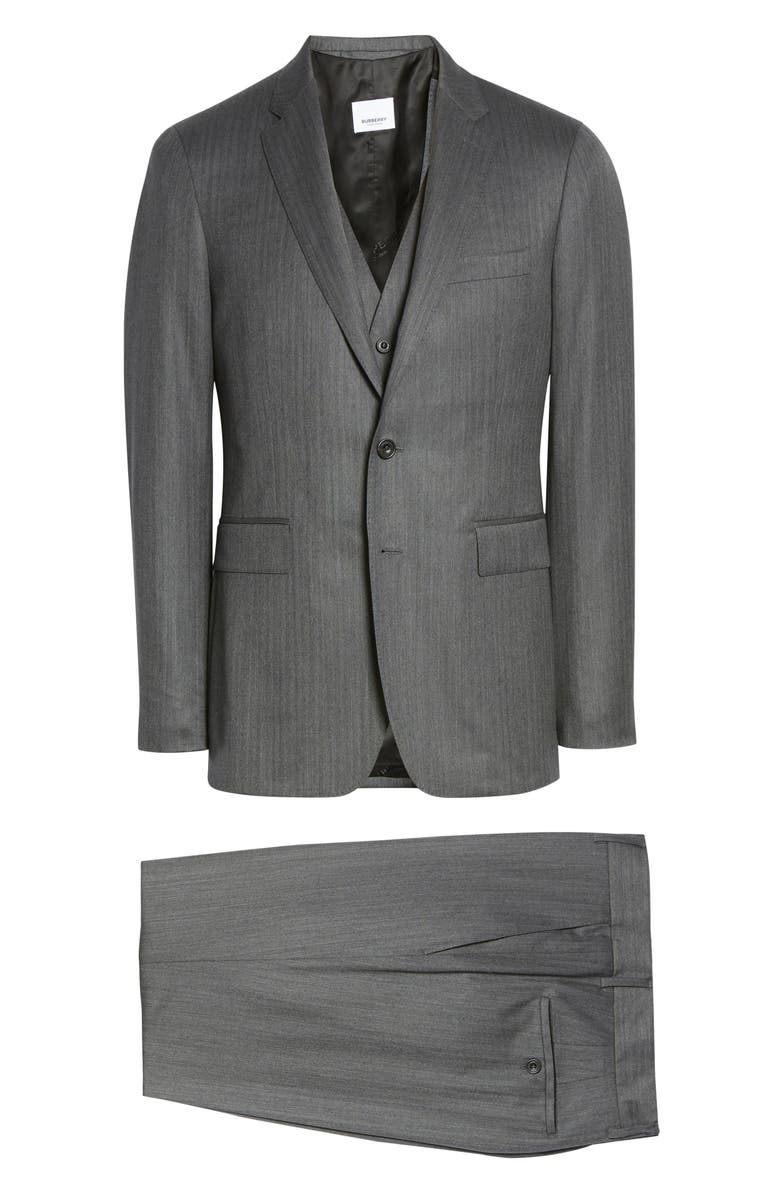 BURBERRY Slim Fit Wool & Cashmere Three-Piece Suit, Main, color, MID GREY PATTERN