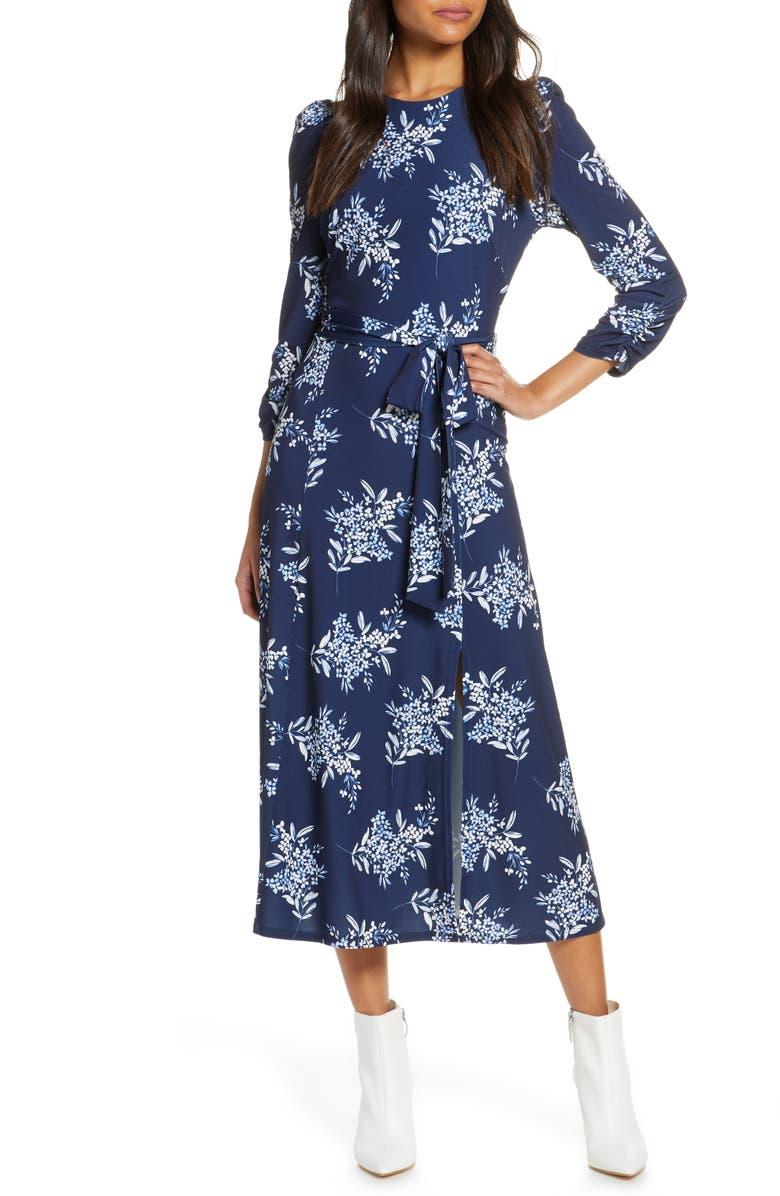 ELIZA J Floral Jersey Midi Dress, Main, color, NAVY