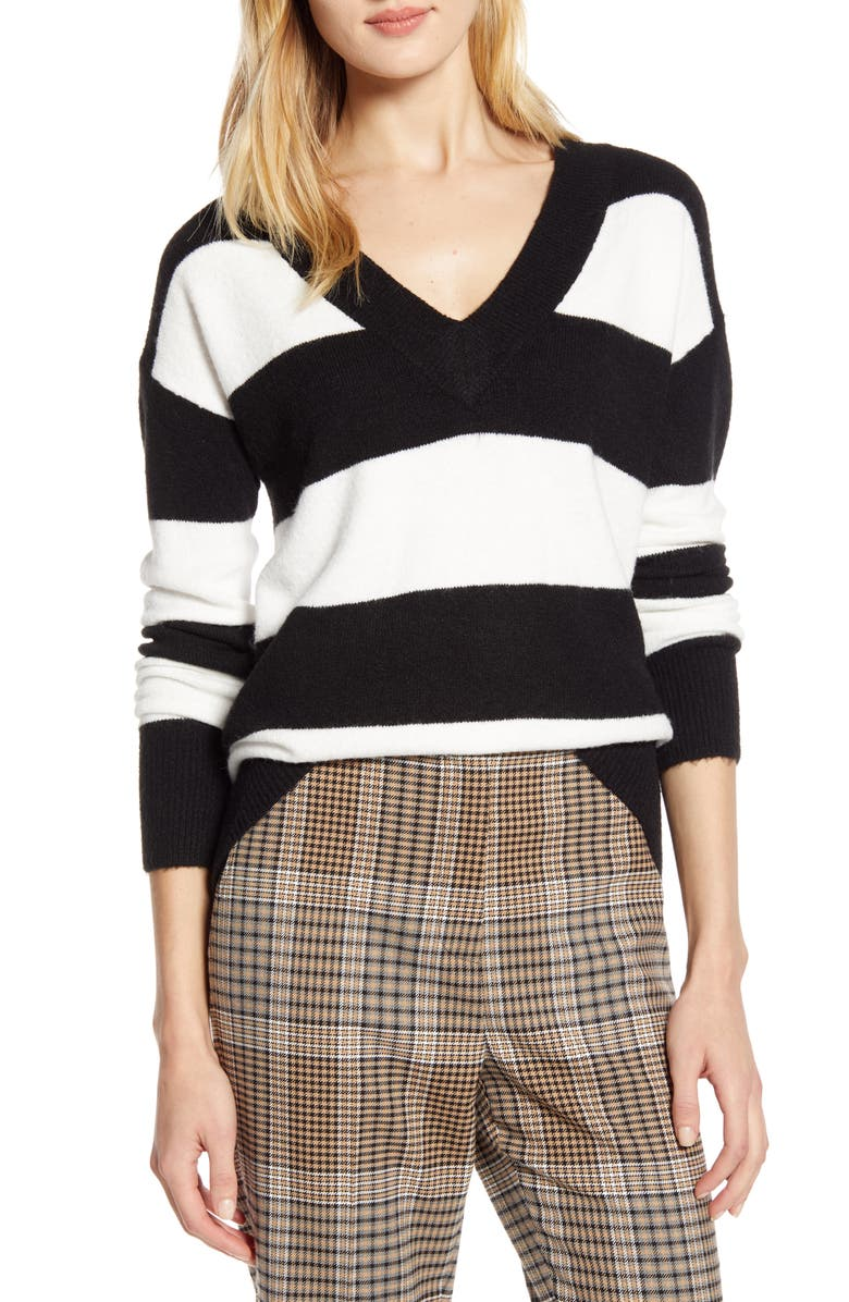 HALOGEN<SUP>®</SUP> x Atlantic-Pacific Stripe V-Neck Sweater, Main, color, BLACK- IVORY STRIPE