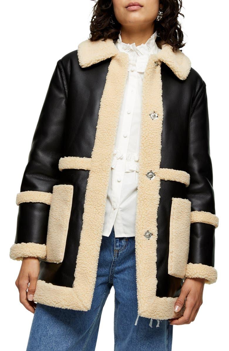 TOPSHOP Raven Reversible Faux Shearling Coat, Main, color, BLACK