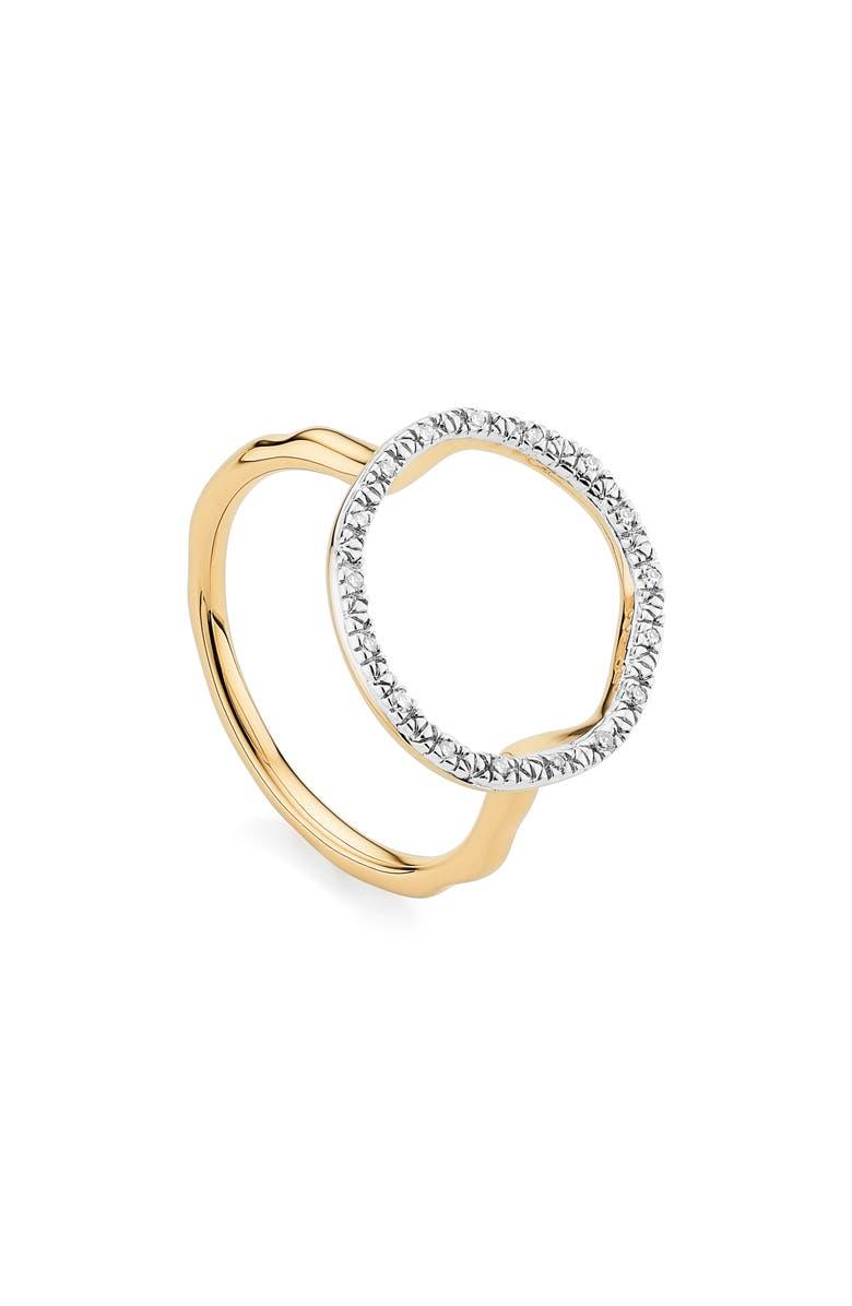 MONICA VINADER Riva Circle Diamond Ring, Main, color, YELLOW GOLD/ DIAMOND