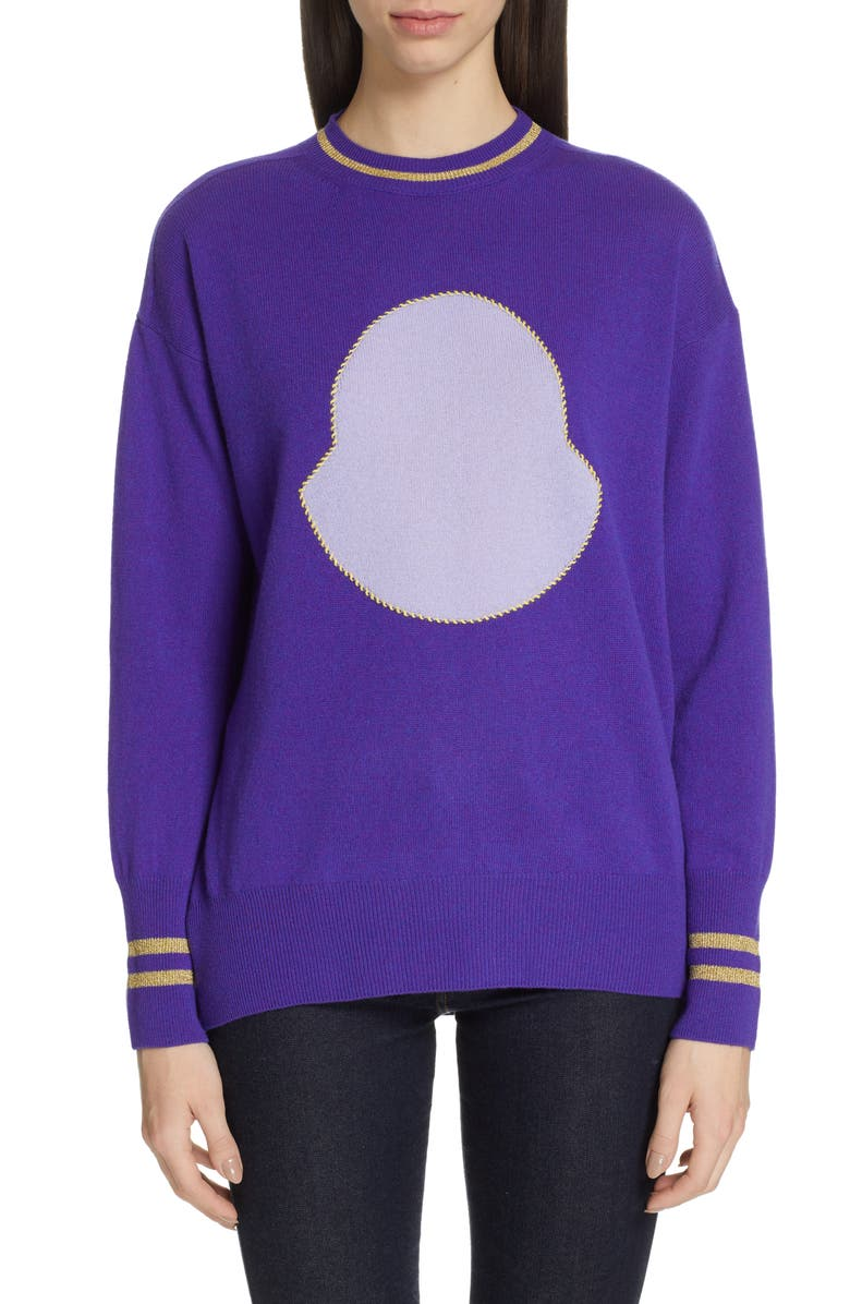 MONCLER Intarsia Logo Sweater, Main, color, 529