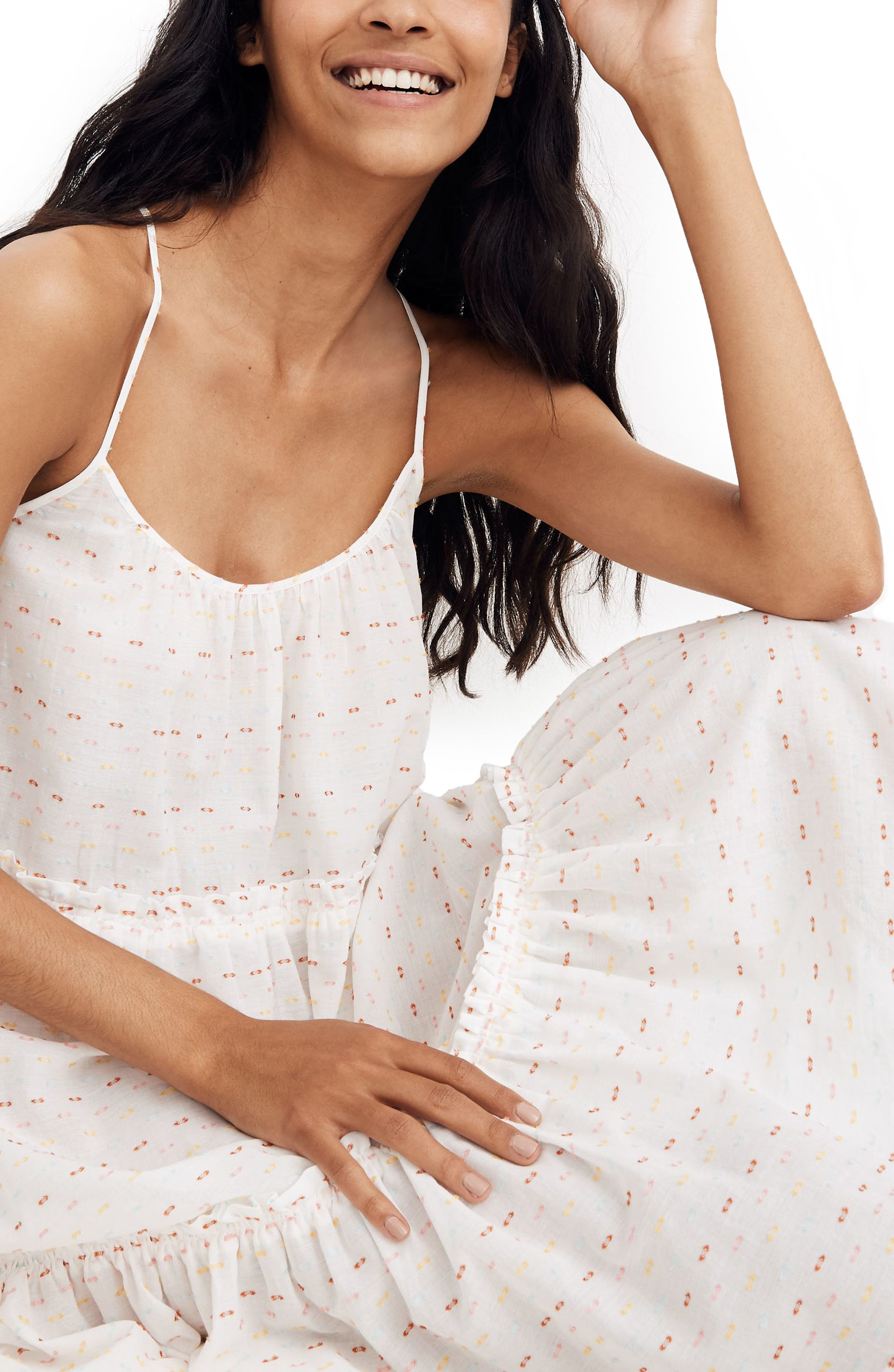 Madewell Rainblow Clipdot Tiered Sleep Dress, White