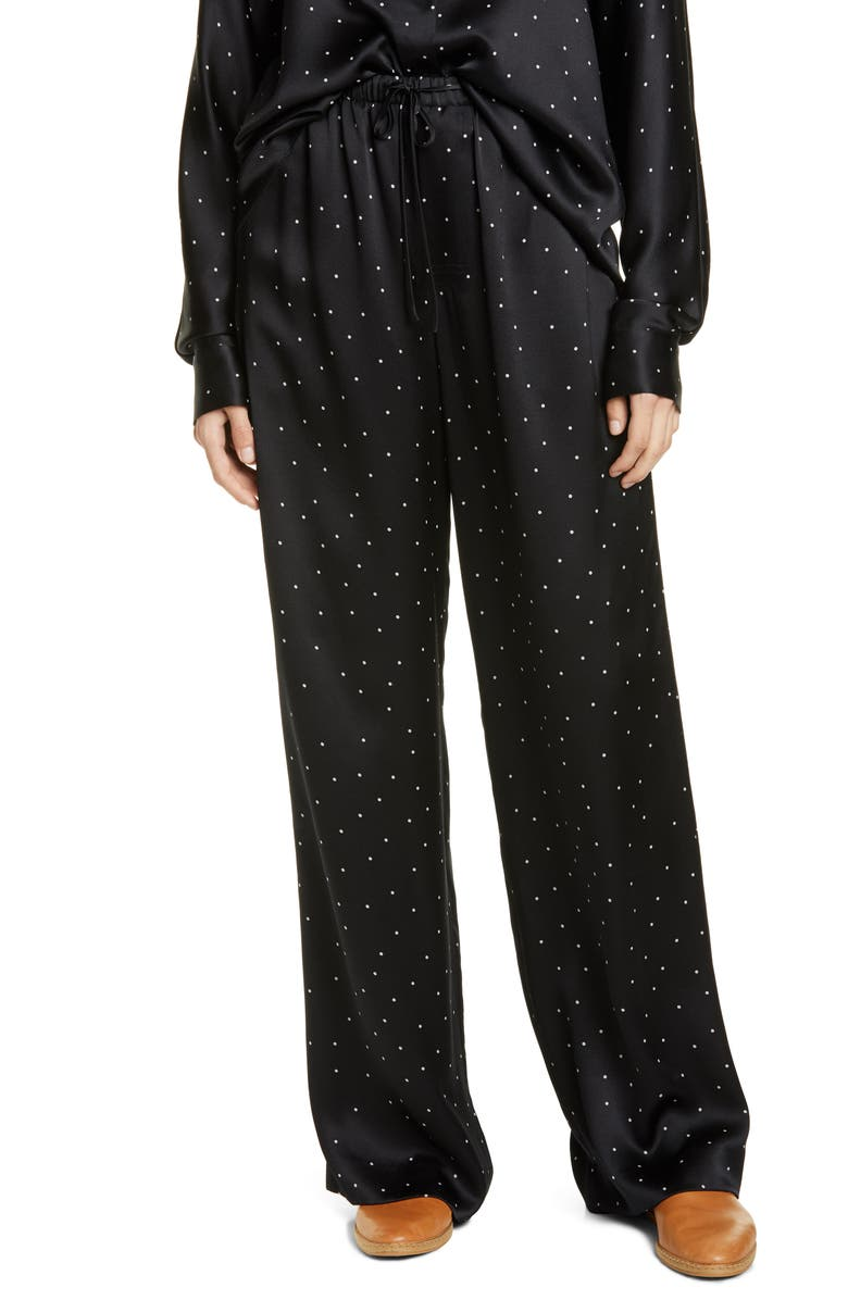 VINCE Dot Print Silk Pants, Main, color, BLACK