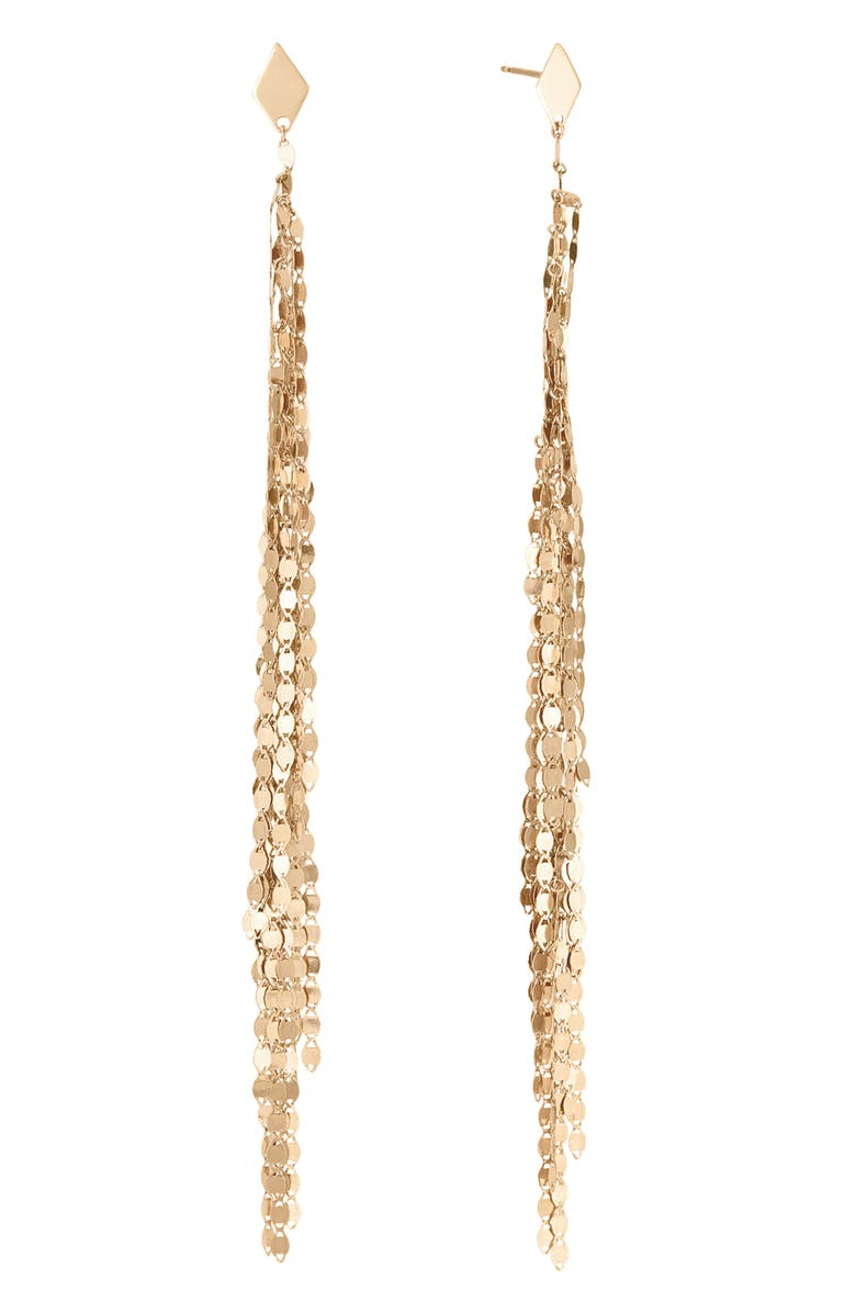 LANA JEWELRY Casino Fringe Duster Earrings, Main, color, YELLOW GOLD