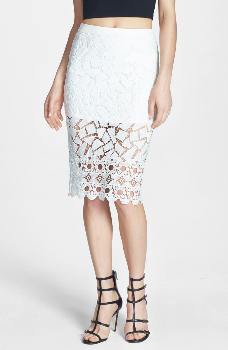 ASTR THE LABEL ASTR Illusion Lace Pencil Skirt, Main, color, 100