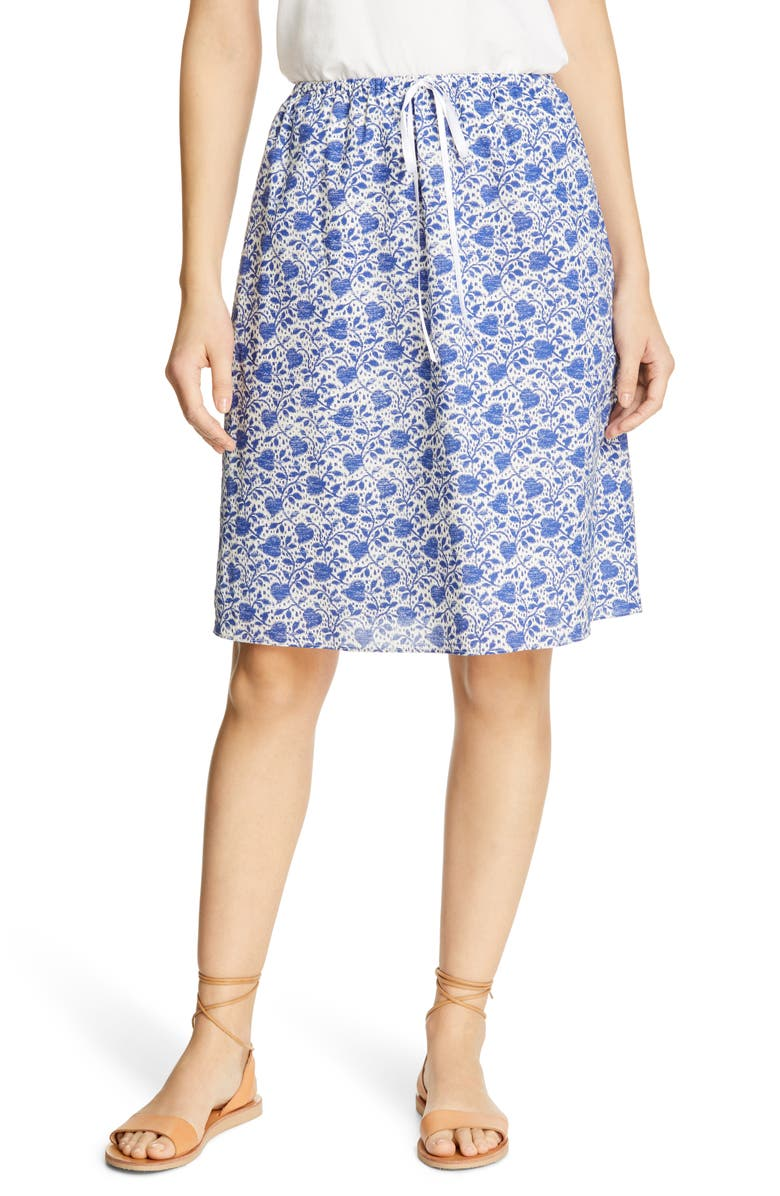 ALEX MILL Heart Pattern Tie Waist Skirt, Main, color, 400