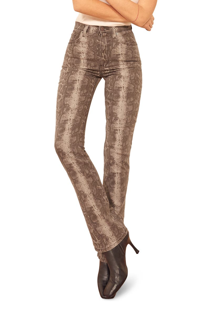 REFORMATION Cindy Snake Print High Waist Bootcut Jeans, Main, color, 250