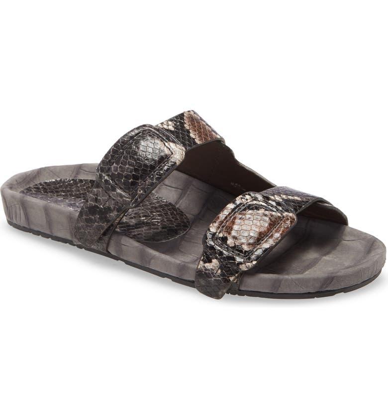 PEDRO GARCIA Arielle Snake & Croc Embossed Buckle Slide Sandal, Main, color, PYTHON