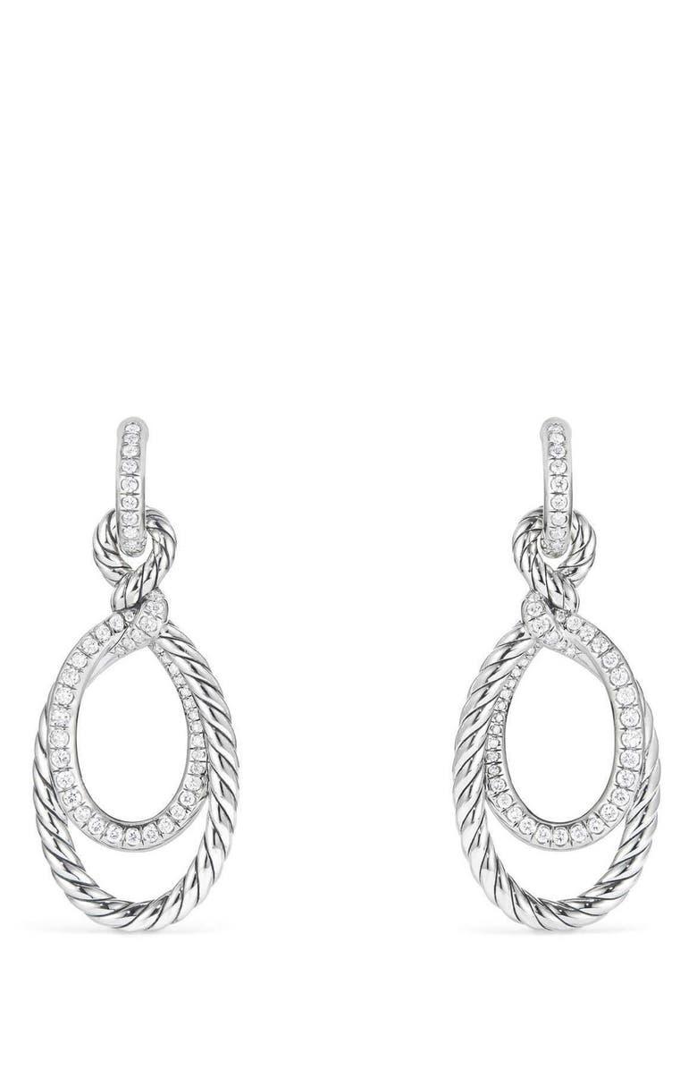 DAVID YURMAN Continuance Drop Earrings with Diamonds, Main, color, SILVER/ DIAMOND