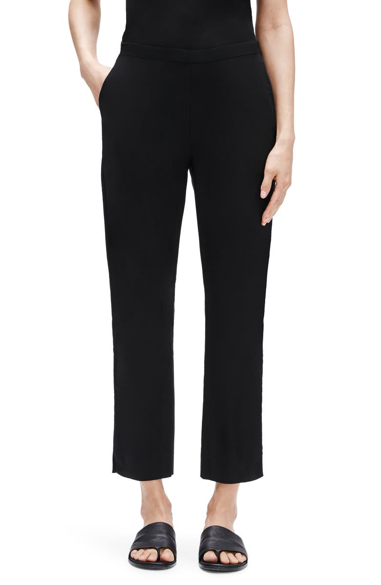 EILEEN FISHER High Waist Tapered Ankle Pants, Main, color, 001