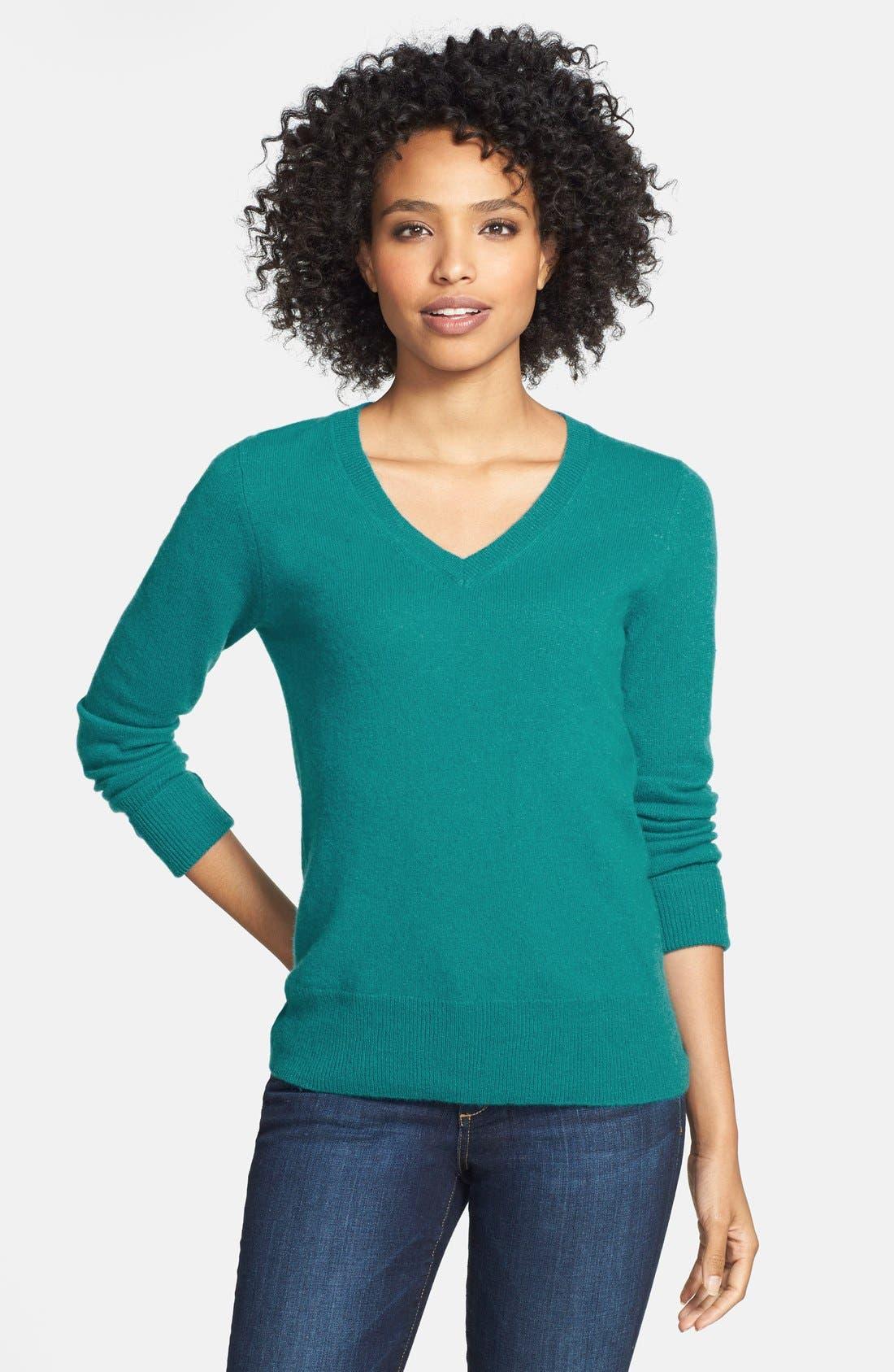 ,                             Cashmere V-Neck Sweater,                             Main thumbnail 48, color,                             441