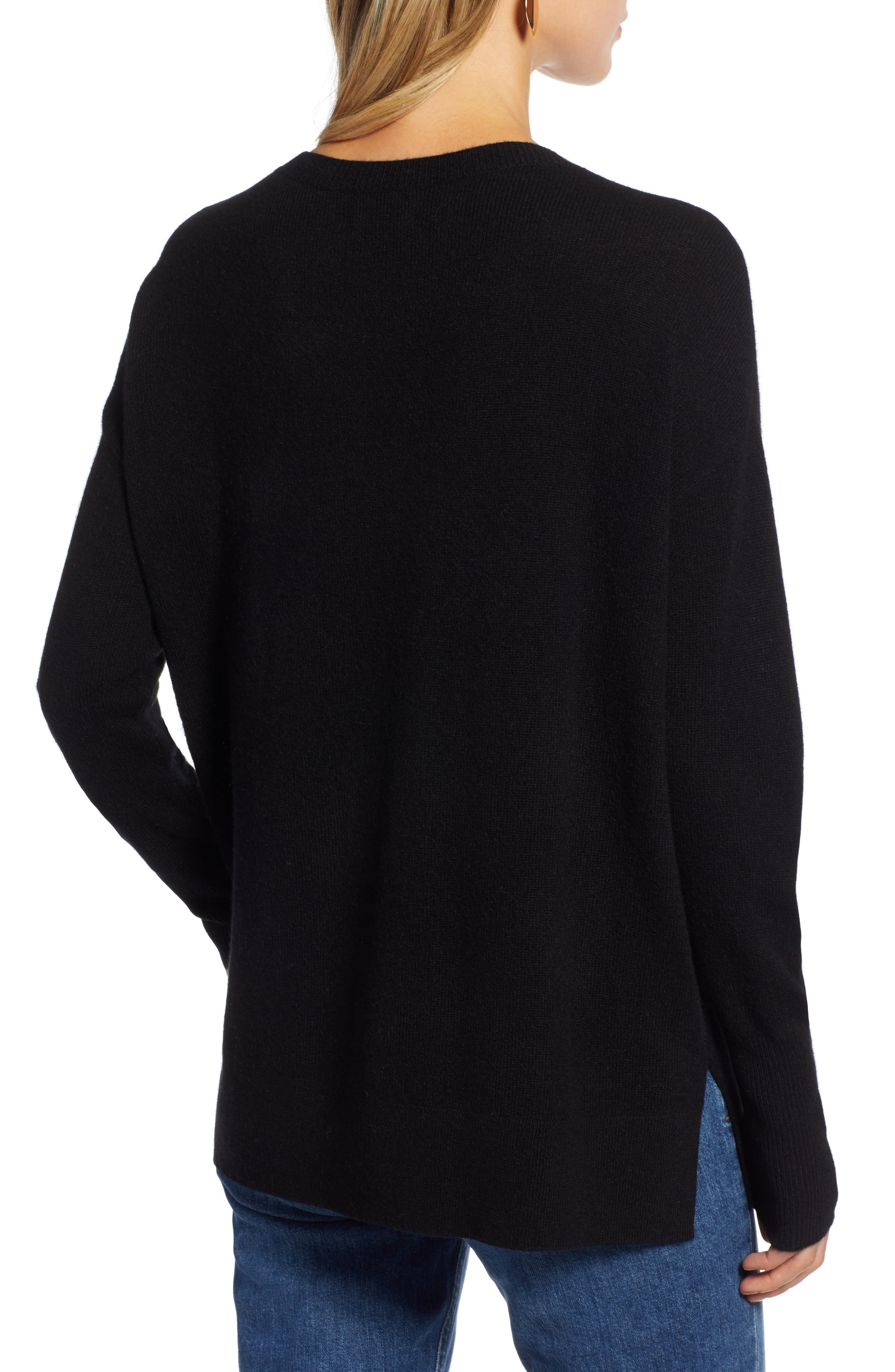 ,                             Relaxed V-Neck Cashmere Sweater,                             Alternate thumbnail 9, color,                             001