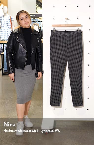 Houndstooth Check Ankle Skinny Ponte Pants, sales video thumbnail