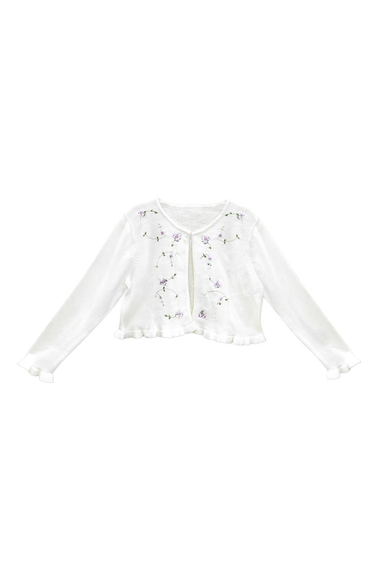 SORBET Sequin Embroidered Ruffle Hem Cotton Cardigan Sweater, Main, color, 100