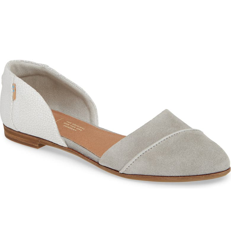 TOMS Jutti d'Orsay Flat, Main, color, DRIZZLE GREY SUEDE