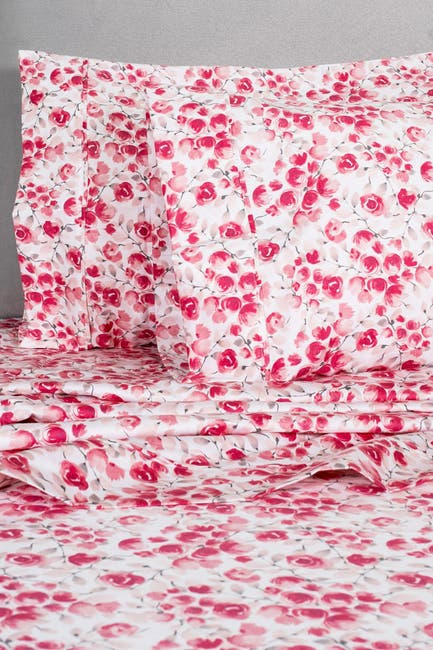 Image of Melange Home King 400 Thread Count Cotton Poppy Sheet 4-Piece Set - Red