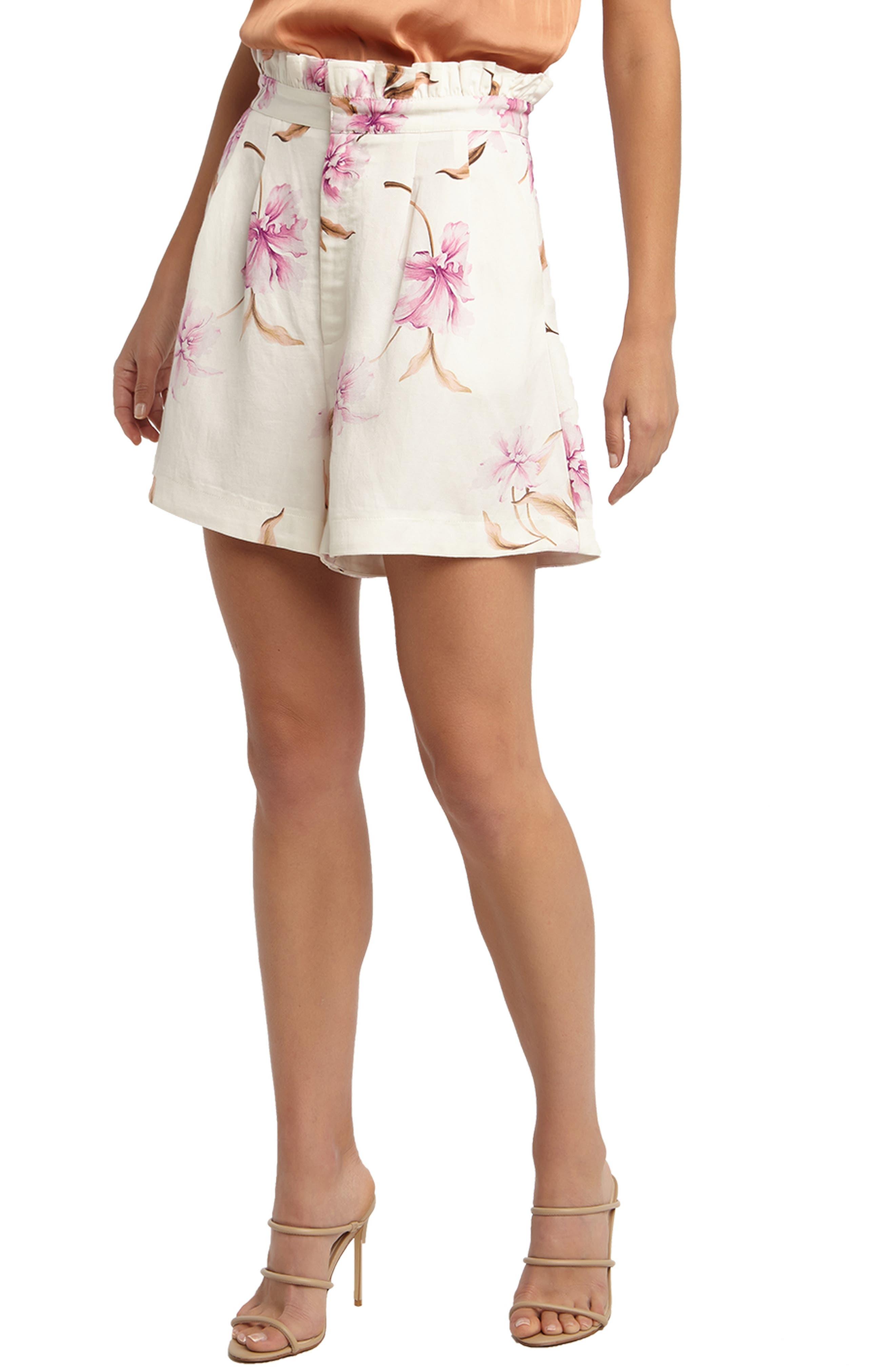 Floral Ruffle Waist Shorts