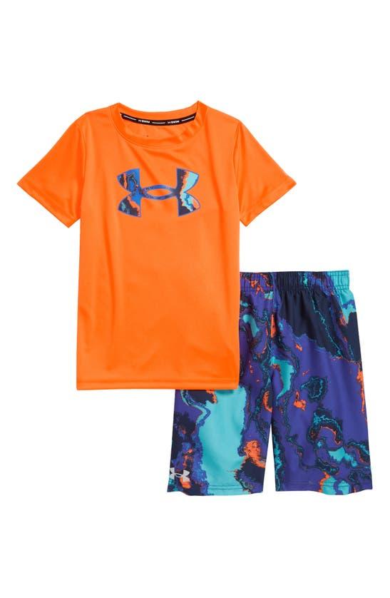 Under Armour Kids' Toddler Boys Heatmap T-shirt And Swim Shorts Set In Blaze Orange
