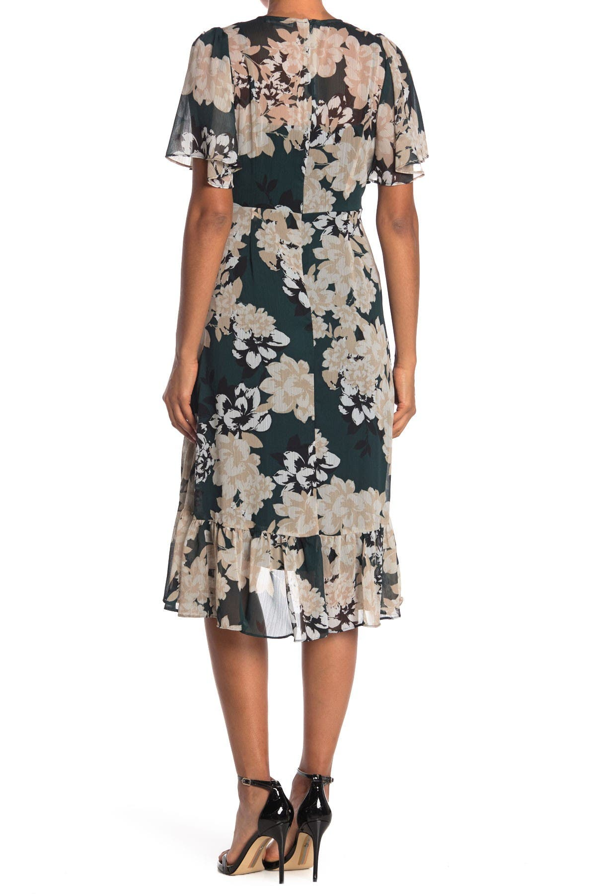 Image of Calvin Klein Floral Surplus Midi Dress