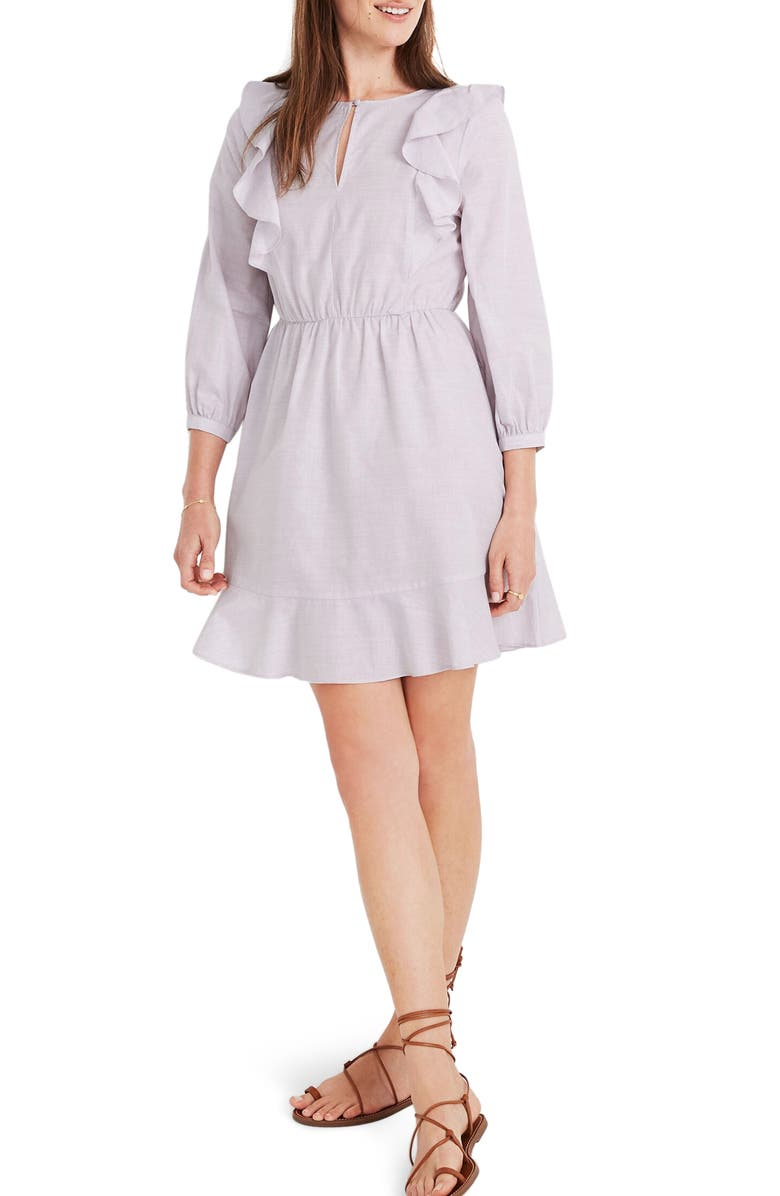 MADEWELL Ruffle-Shoulder Minidress, Main, color, 100