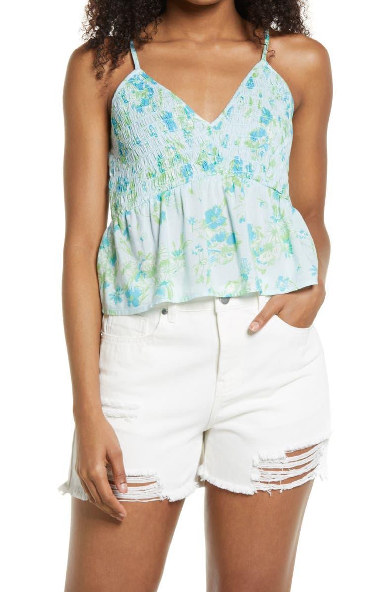 BP. Floral Smocked Crop Camisole Top, Main, color, BLUE SINA SKETCHED FLORAL