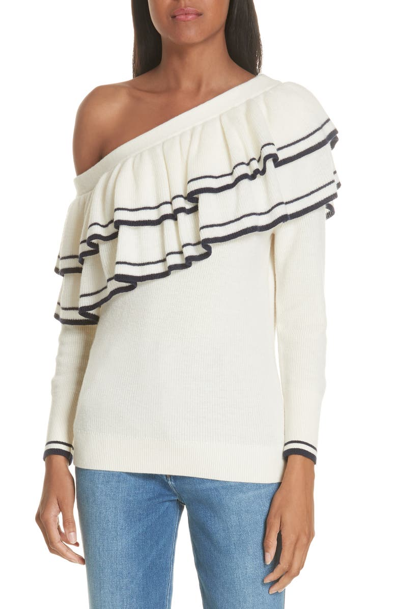 FRAME Ruffle One-Shoulder Wool Blend Sweater, Main, color, 909
