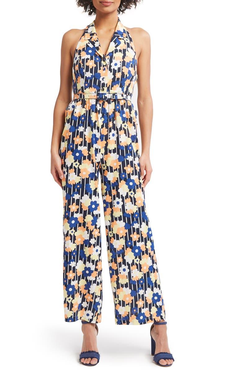 MODCLOTH Halter Floral Jumpsuit, Main, color, 410
