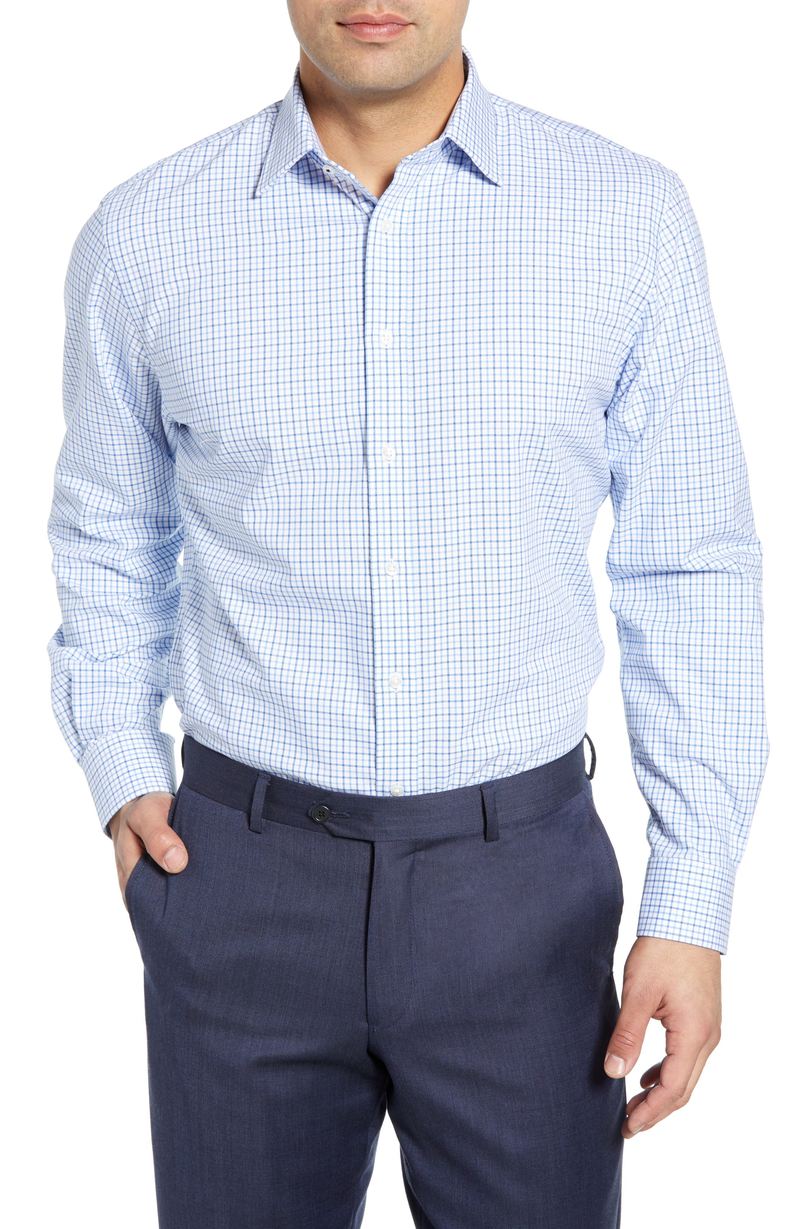 Tech-Smart Traditional Fit Check Stretch Dress Shirt, Main, color, BLUE VICTORIA
