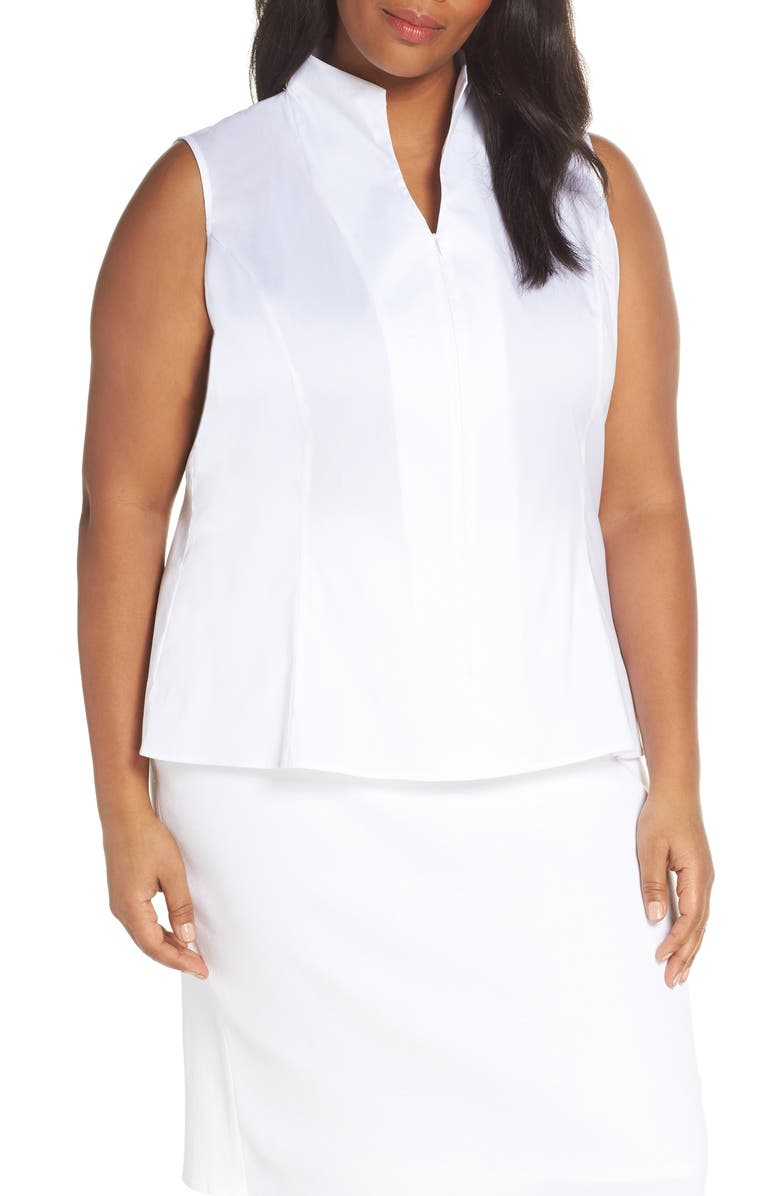 MING WANG Zip Neck Blouse, Main, color, WHITE