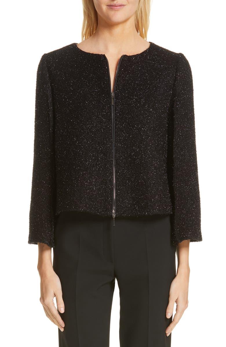 EMPORIO ARMANI Sparkle Zip Front Jacket, Main, color, BLACK