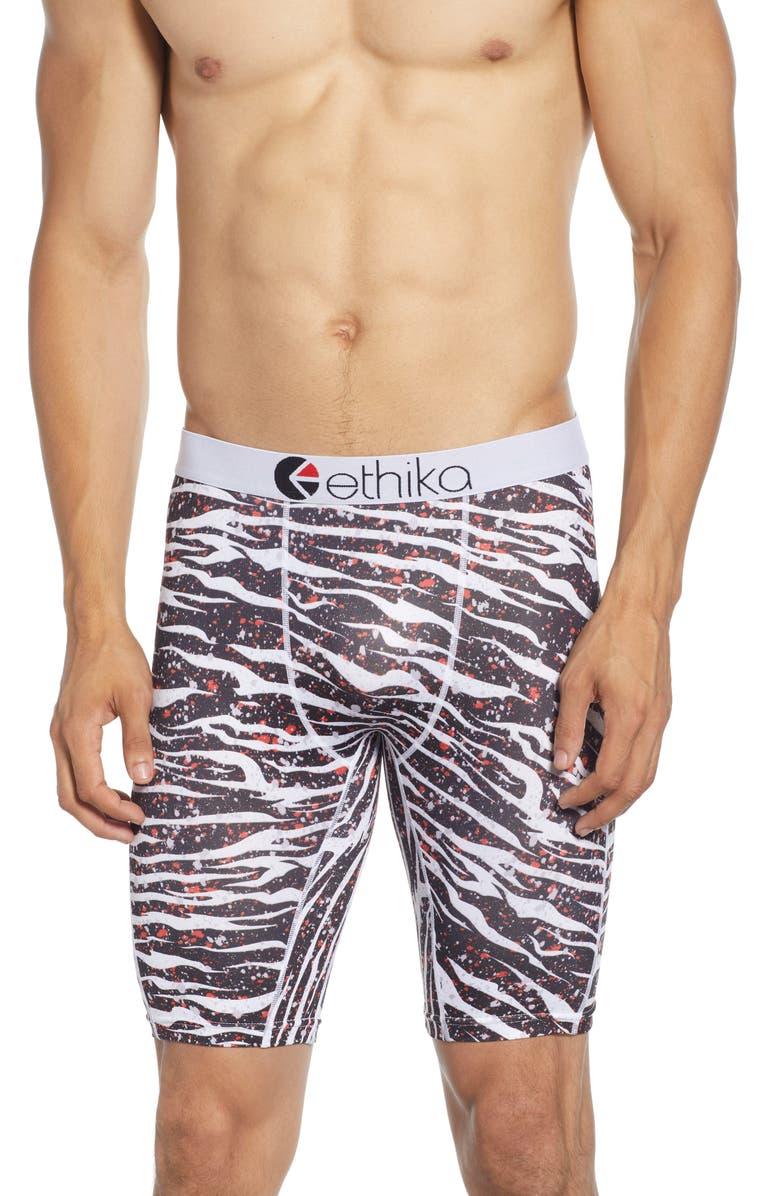 ETHIKA Tiger Paint Boxer Briefs, Main, color, WHITE/ BLACK/ RED