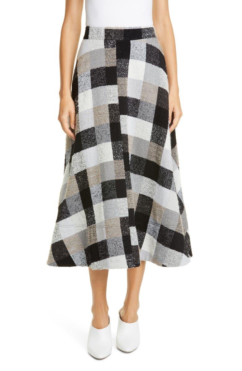 CO Check Midi Circle Skirt, Main, color, GREY