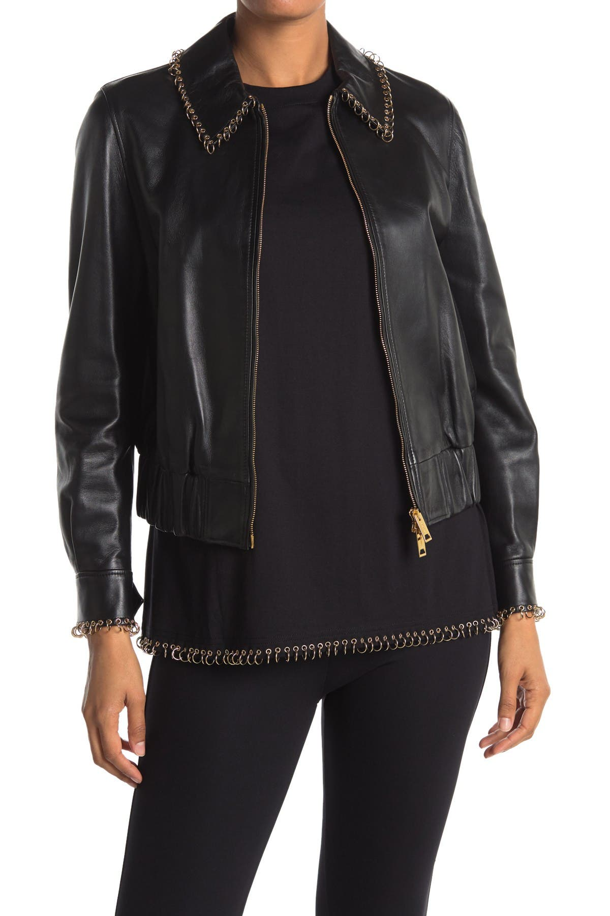Image of Burberry Cranleigh Leather Bomber Jacket