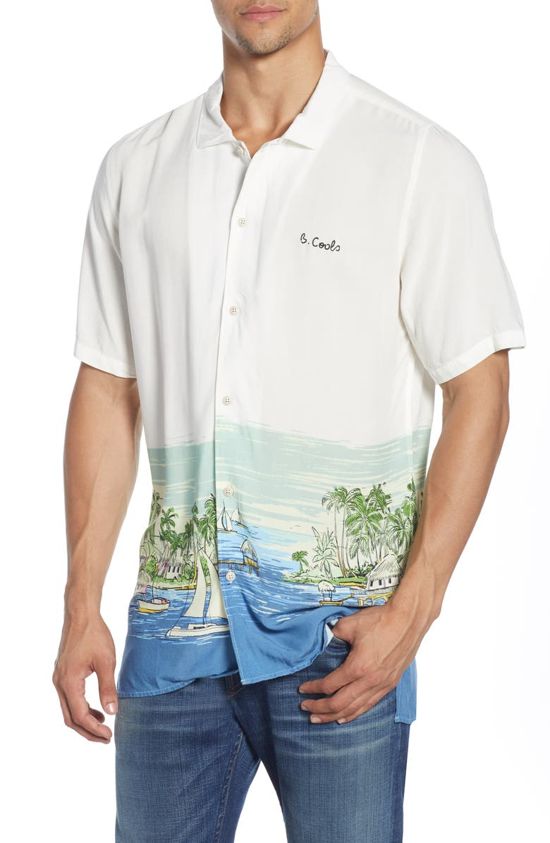 BARNEY COOLS Holiday Print Short Sleeve Button-Up Shirt, Main, color, WHITE VACATION