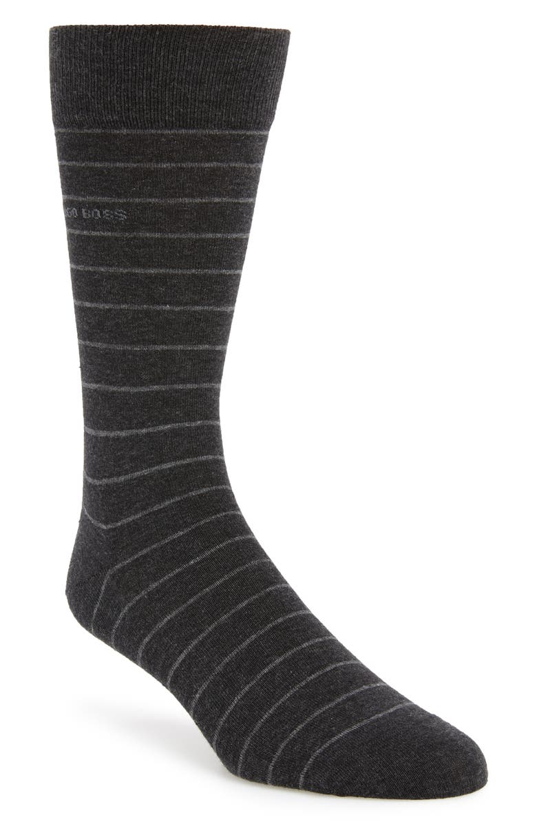 BOSS Brad Stripe Socks, Main, color, DARK GREY