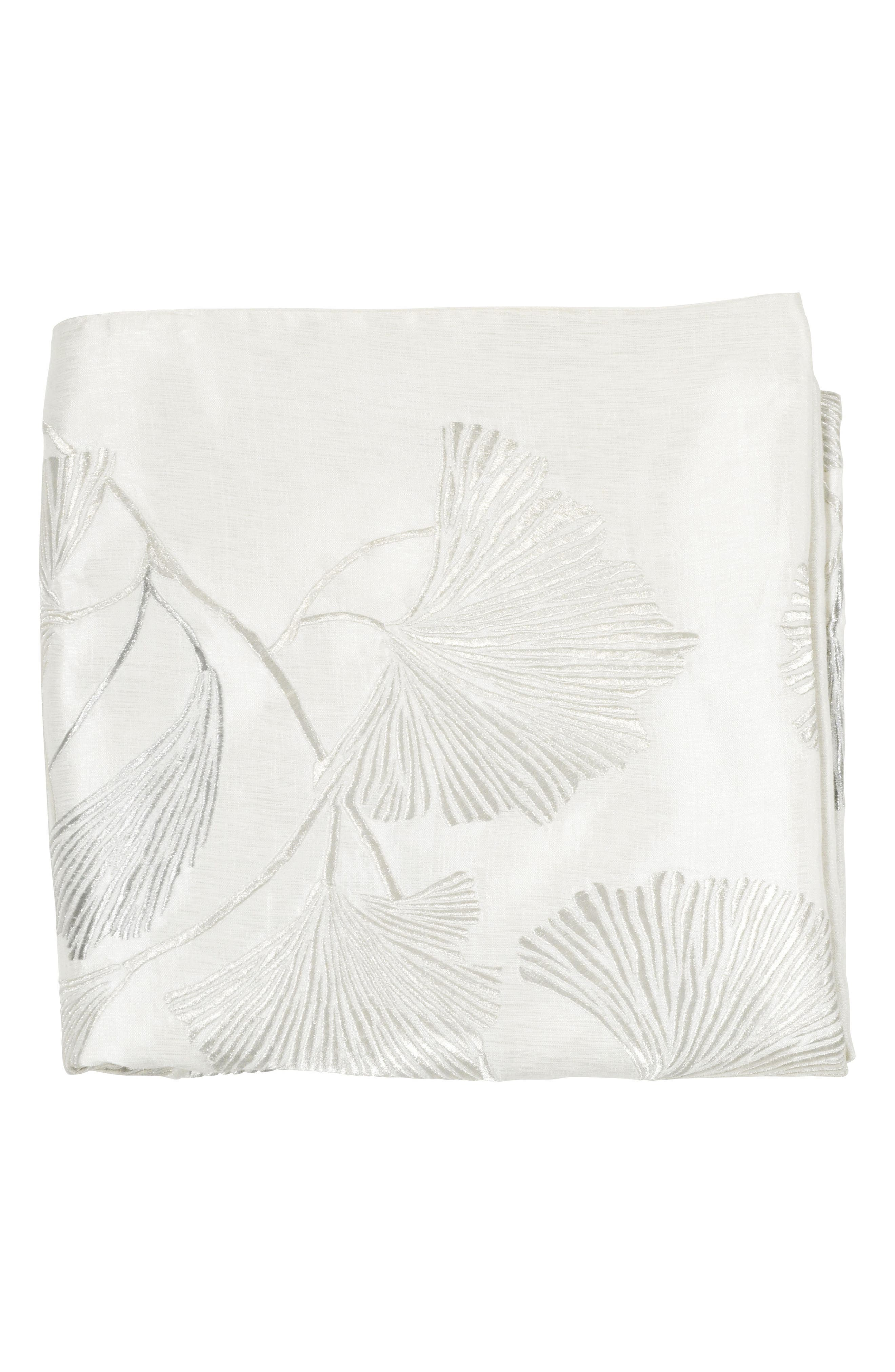 ,                             Ginkgo Leaf Embroidered Throw,                             Main thumbnail 1, color,                             IVORY