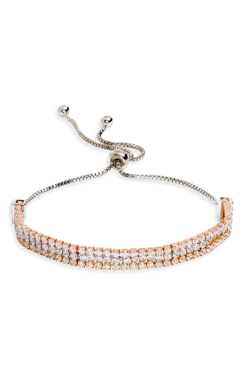 BRACHA Dhalia Triple Strand Crystal Slider Bracelet, Main, color, GOLD