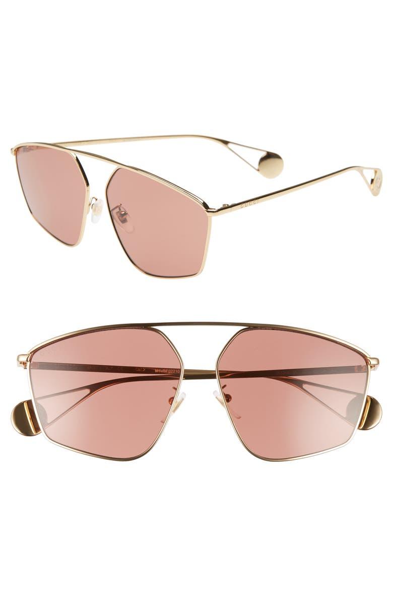 Gucci 60mm Aviator Sunglasses