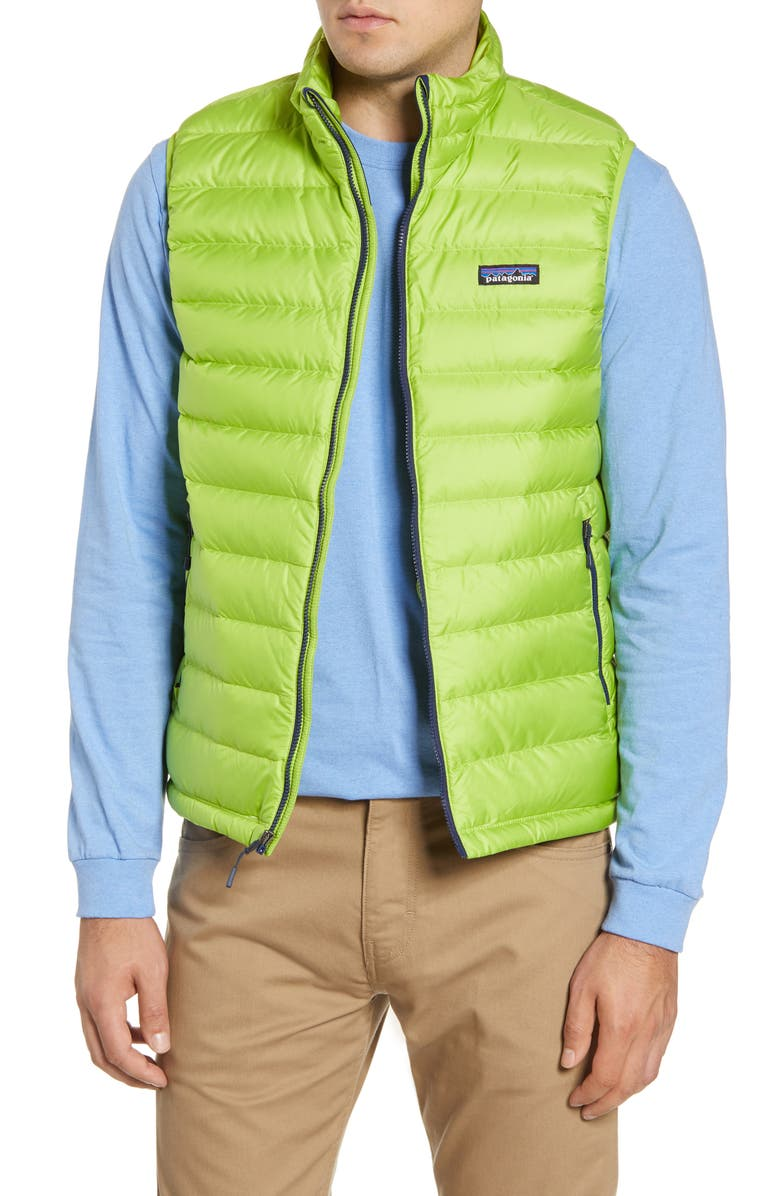 PATAGONIA Windproof & Water Resistant 800 Fill Power Down Quilted Vest, Main, color, PEPPERGRASS GREEN